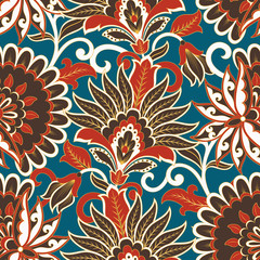 Floral vector seamless pattern. Fantastic flower, leaves. Textile bohemian print. Batik painting