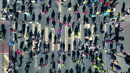 Valokuva  Aerial view from drone on crowd of people who is preparing for run