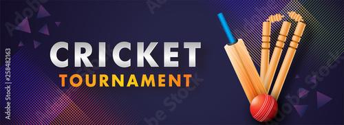 Fotografía Website Header banner or poster design of Cricket Tournament with abstract cricket equipment on dark purple background