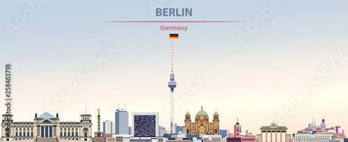 Vector illustration of Berlin city skyline on colorful gradient beautiful day sk Canvas Print