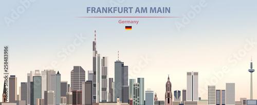 Obraz Vector illustration of Frankfurt am Main city skyline on colorful gradient beautiful day sky background with flag of Germany - fototapety do salonu