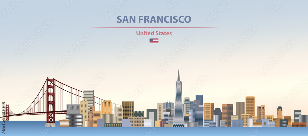 Fototapeta Vector illustration of  San Francisco city skyline on colorful gradient beautiful day sky background with flag of United States