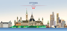 Vector Illustration Of Ottawa, City Skyline On Colorful Gradient Beautiful Day Sky Background With Flag Of Canada