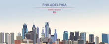 Vector Illustration Of  Philadelphia City Skyline On Colorful Gradient Beautiful Day Sky Background With Flag Of United States