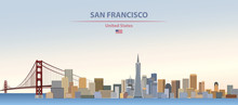 Vector Illustration Of  San Francisco City Skyline On Colorful Gradient Beautiful Day Sky Background With Flag Of United States