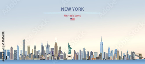 Photo  Vector illustration of  New York city skyline on colorful gradient beautiful day