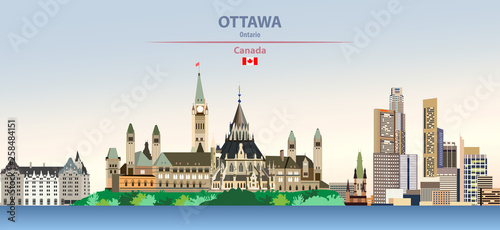 Foto auf AluDibond Konigtum Vector illustration of Ottawa, city skyline on colorful gradient beautiful day sky background with flag of Canada