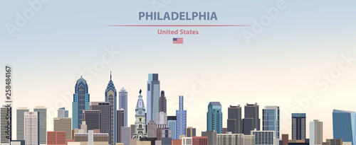 Fotografía  Vector illustration of  Philadelphia city skyline on colorful gradient beautiful
