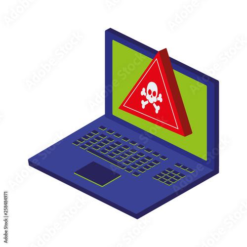 Fototapeta laptop with alert signal obraz na płótnie