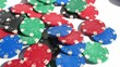Poker Chips Thrown at White Table Slow Motion