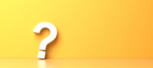 White Question Mark On Yellow Background With Empty Copy Space On Right Side. 3D Rendering