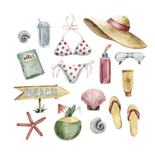 Summer Apparel For Beach Vacation Bikini Floppy Hat Flip Flops And Sunglasses Book Sun Protector, Coconut Cocktail Shells Water Bottle, Watercolor Illustration Isolated On White Background