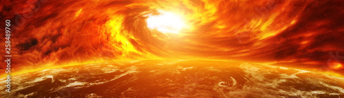 Exploding close to planet Earth 3D rendering elements of this image furnished by Wallpaper Mural