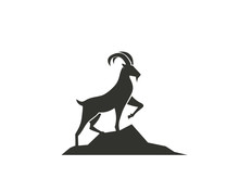 Stand Goat On Rock Logo Design...