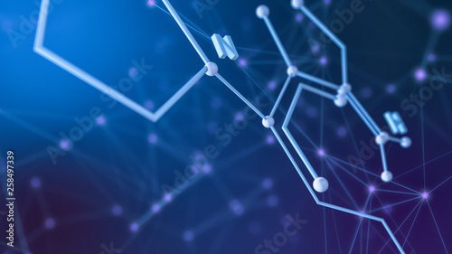 Fotografia  close up view of a chemical structure, concept of science and technology (3d ren