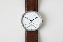 Minimalist Watch Wristwatch With White Dial And Brown Leather Strap Isolated On White Background
