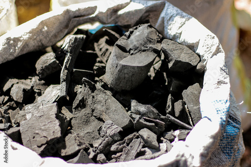 Photo  Carbon charcoal packed in bags