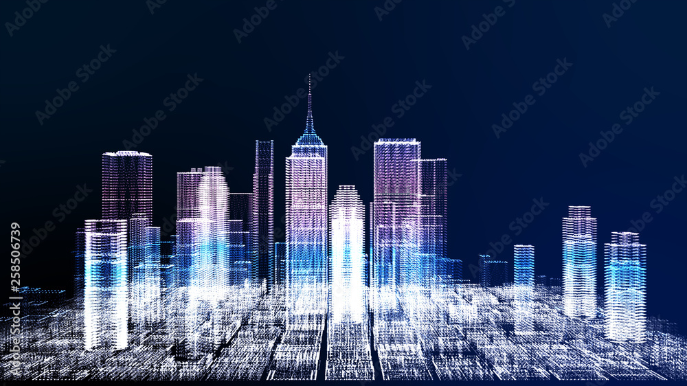 Fototapety, obrazy: Energy power of future cyber business city concept, neon cyber light skyscraper building of business area architecture simulation technology digital fly over view, blue theme 3D Rendering