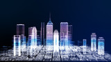Fototapeta Nowy Jork - Energy power of future cyber business city concept, neon cyber light skyscraper building of business area architecture simulation technology digital fly over view, blue theme 3D Rendering