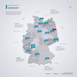 Germany vector map with infographic elements, pointer marks.