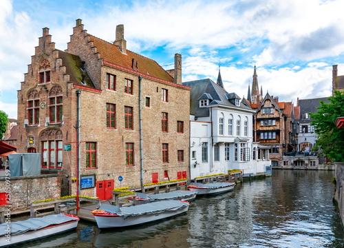 Poster Bridges Old Bruges canals and architecture, Belgium