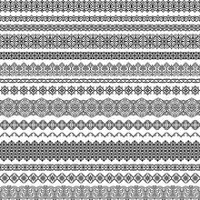 Vector Set Of Seamless Brushes In Oriental Motifs. Brushes Included In File