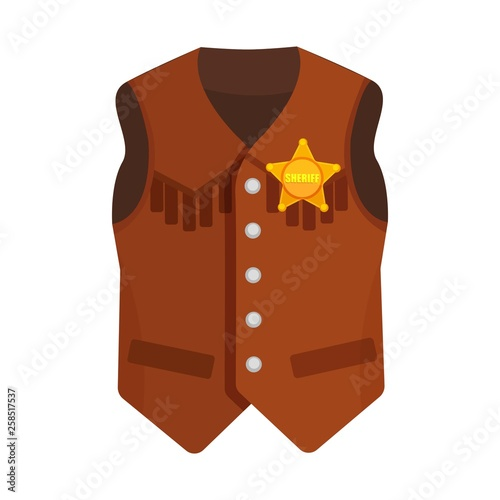 Fotografía  Vector illustration on a colorless background with a cowboy vest with the sherif