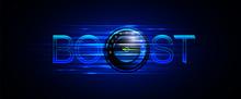 Illustration Of Accelerator Speed Turbo Boost. Dark Blue Background