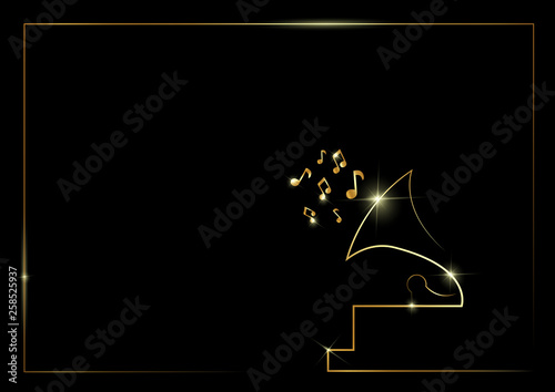 Golden Abstract Silhouette Icon Of An Old Gramophone Gold