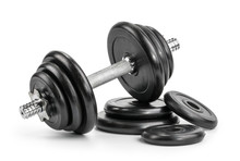 Dumbbell Isolated White Backgr...