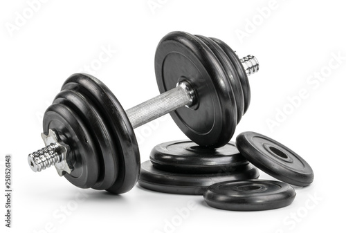 Fotografia dumbbell isolated white background