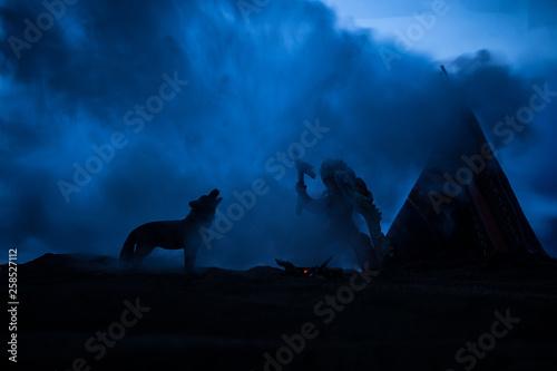 Fototapeta An old native american teepee in the desert
