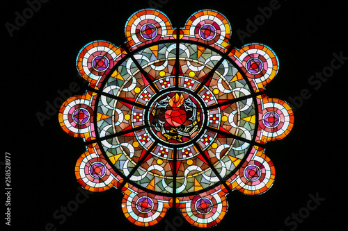 Fotografie, Obraz Sacred Heart of Jesus - Stained Glass in Sacre Coeur, Paris