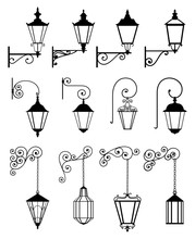 Vector Set Of Outdoor Wall Lanterns In Retro Style, In Black Color, Isolated On White Background. Wall Sticker. Illustration For Design.