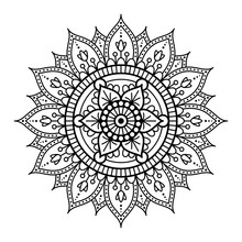 Round Mandala For Coloring On ...