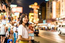 Young Asian Woman Traveler With View At China Town In Bangkok, Thailand