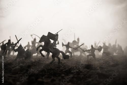 Slika na platnu Medieval battle scene with cavalry and infantry