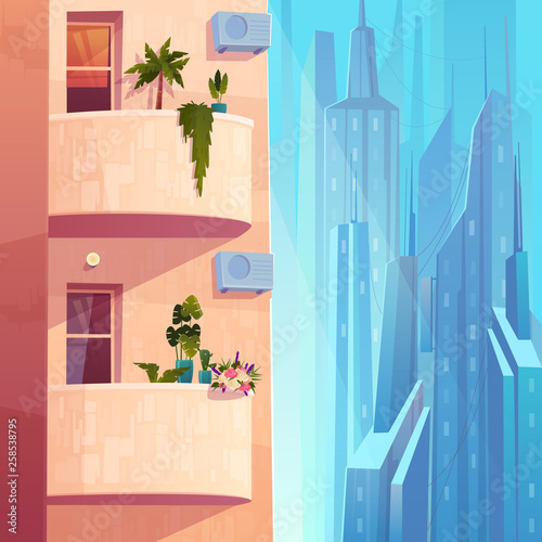 Balconies with plants and flowers, air conditioning units on multi-storey house in metropolis cartoon vector. Comfortable apartments in skyscraper, modern city architecture element illustration Wall mural