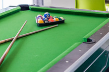 Close Up Of Pool Ball On Pool ...