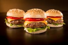 Three Mini Burgers In A Dark Ambient
