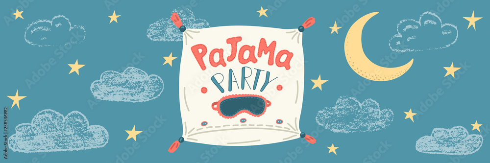 Fototapety, obrazy: Pajama Party. Cute hand drawn pillow with lettering