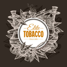 Vector Round Hand Drawn Posters With Tobacco And Smoking Collection On Chalkboard. Sketch Background With Cigarettes, Cigars, Hookah, Tobacco Leaves, Pipes