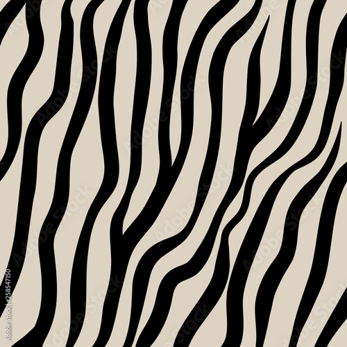 obraz PCV Zebra seamless pattern. Black hand drawn stripes on a beige background
