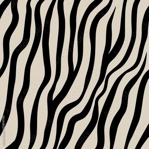 fototapeta na lodówkę Zebra seamless pattern. Black hand drawn stripes on a beige background