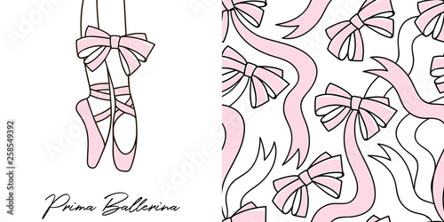 Design set of print with Dancing ballerina legs in pointe shoes and Doodle ribbon bows seamless background Fototapeta