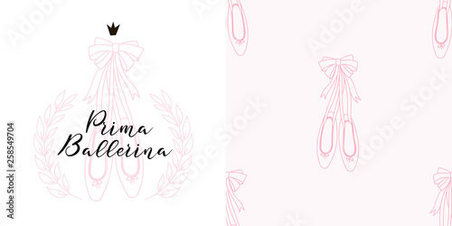 Fotografie, Obraz  Design set of emblem print with Ballerina shoes in Laurel wreath frame and small-scaled Pointe shoes neutral seamless background