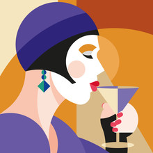 Fashionable Stylish Woman Drin...