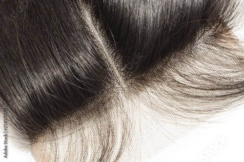 Carta da parati middle part straight black human hair weaves extensions lace lace closure