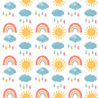 Seamless patter with clouds, rain, sun, rainbow. Baby background. Pencil texture.