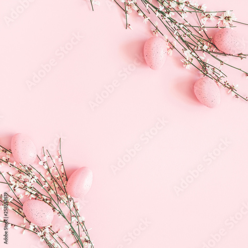 Foto auf Leinwand Indien Easter composition. Easter eggs, white flowers on pastel pink background. Flat lay, top view, copy space, square